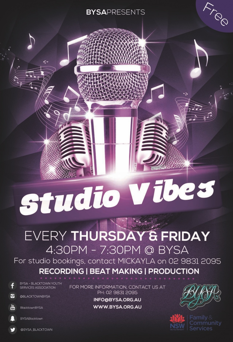 Recording, Beat Making, Production. Come in and have a go!